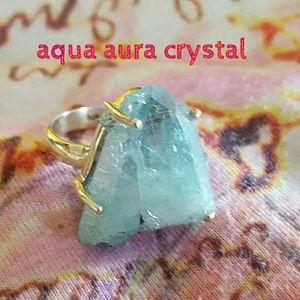 Natural Aqua Aura Crystal Ring Sterling